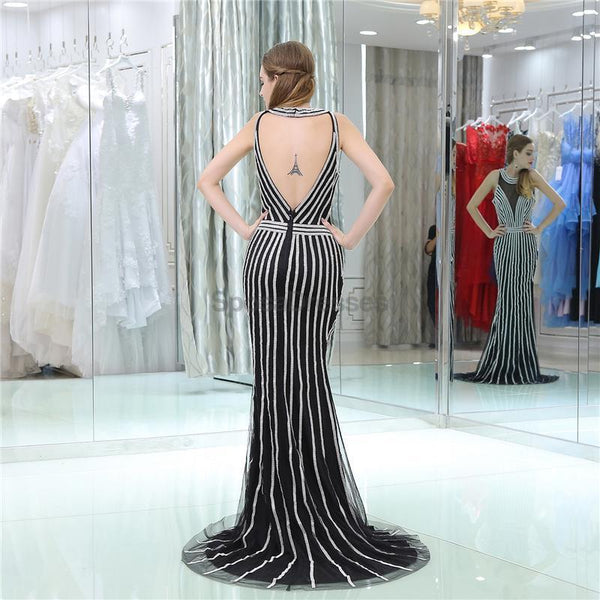 Jewel Black Beaded Mermaid Evening Prom Dresses, Evening Party Prom Dresses, 12109