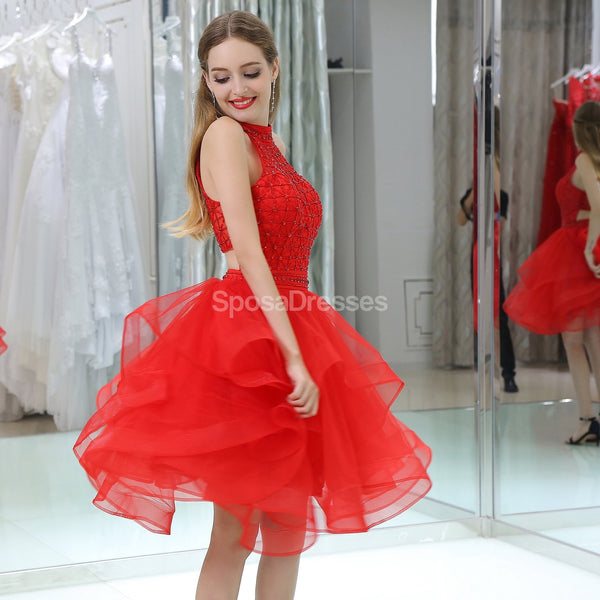 Red Halter Beaded Cheap Homecoming Dresses Online, Cheap Short Prom Dresses, CM804