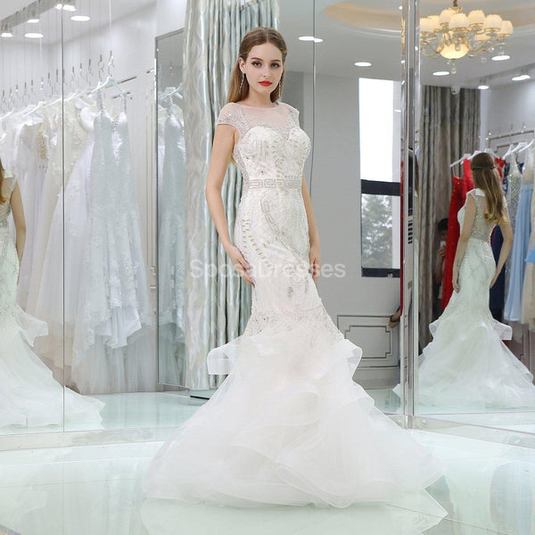 Cap Sleeves Rhinestone Mermaid Wedding Dresses Online, Unique Bridal Dresses, WD583