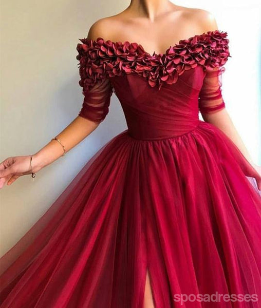Off Shoulder Hand Made Flower Long Evening Prom Dresses With Pockets, Cheap Custom Party Prom Dresses, 18608