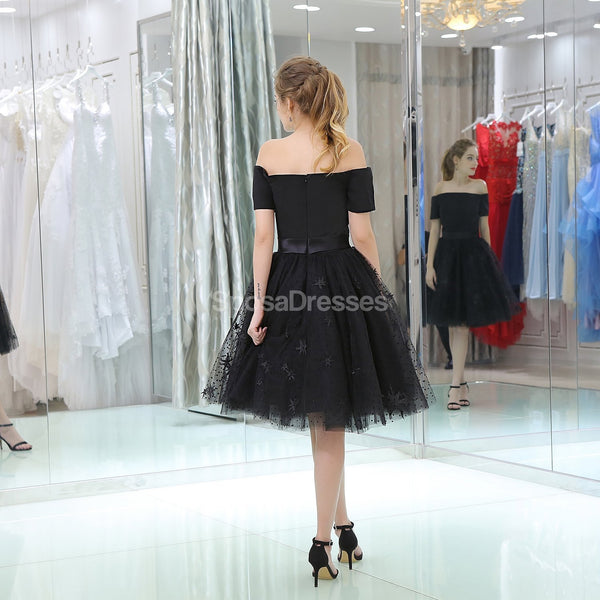 Off Shoulder Short Sleeves Black Cheap Homecoming Dresses Online, Cheap Short Prom Dresses, CM808