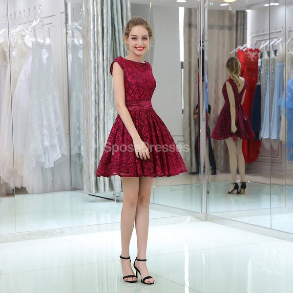 Burgundy Lace Cap Sleeves Cheap Homecoming Dresses Online, Cheap Short Prom Dresses, CM811