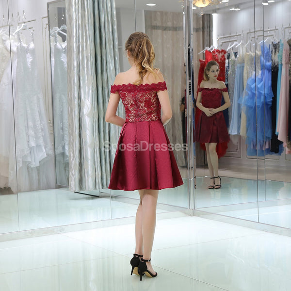 Burgundy Lace Off Shoulder Cheap Homecoming Dresses Online, Cheap Short Prom Dresses, CM813