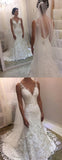 V Neck Backless Lace Mermaid Cheap Wedding Dresses Online, Cheap Bridal Dresses, WD530