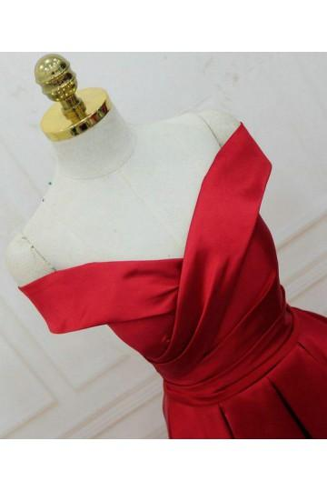 Simple Red Off Shoulder A line Long Cheap Evening Prom Dresses, 17537