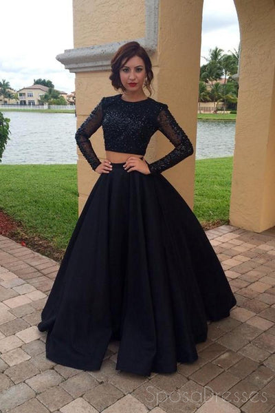 Black Two Pieces Long Sleeves Beaded A-line Long Evening Prom Dresses, 17643