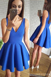 Blue V-Neck Cheap 2018 Homecoming Dresses Under 100, CM406