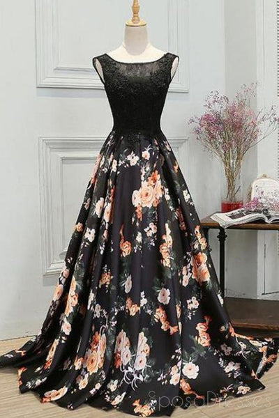 Black Scoop Neck Lace Bodice A-line Long Evening Prom Dresses, 17647