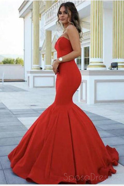 Simple Cheap Red Mermaid Long Evening Prom Dresses, 17648