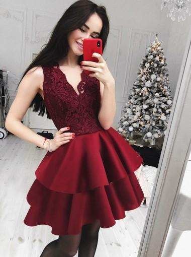 V Neck Burgundy Lace Cheap Short Homecoming Dresses Online, CM616