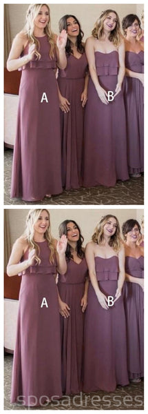 Dusty Purple Mismatched Chiffon Cheap Bridesmaid Dresses Online, WG268
