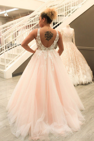 Sexy See Through Lace Applique Pale Pink A line Long Custom Evening Prom Dresses, 17450