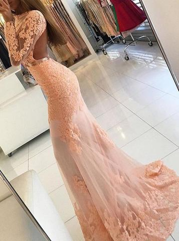 Sexy Long Sleeve Backless See Through Peach Lace Beaded Long Evening Prom Dresses, 17307