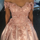 Off Shoulder Lace Beaded A line Pink Evening Prom Dresses, Popular Sweet 16 Party Prom Dress, Custom Long Prom Dresses, Cheap Formal Prom Dresses, 17168