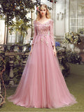 Long Sleeve Pink Lace A line Long Evening Prom Dresses, Popular Cheap Long 2018 Party Prom Dresses, 17310