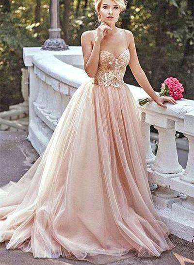 Champagne Gold Sequin A line Evening Prom Dresses, Long Tulle Party Prom Dresses, 17051