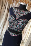 Sexy Two Pieces Heavily Beaded Navy Mermaid Long Cheap Evening Prom Dresses, 17538