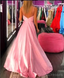 Sexy Pink Side Slit Cheap Long Evening Prom Dresses, Cheap Custom Sweet 16 Dresses, 18504