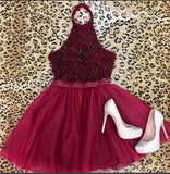 Halter Dark Red Tulle Short Cheap Homecoming Dresses Online, CM834