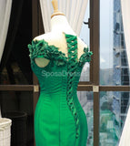 Off Shoulder Green Lace Mermaid Long Evening Prom Dresses, Evening Party Prom Dresses, 12280