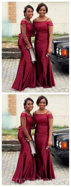 Burgund Off Shoulder Mermaid Long Cheap Bridesmaid Dresses Online, WG263