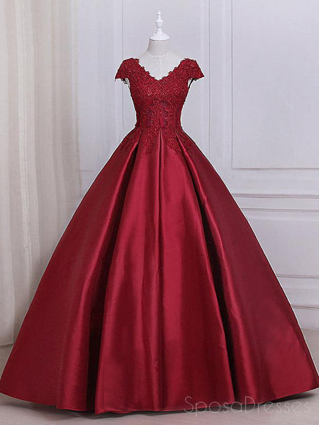 See Through Cap Sleeves Red Lace A line Long Evening Prom Dresses, 17557
