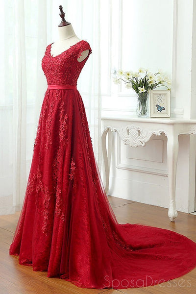 Short Sleeve Scoop Neckline Red Lace Beaded Cheap Long Evening Prom Dresses,17308