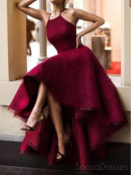 Sexy Fashion High Low Maroon Lace Halter Custom Cheap Evening Prom Dresses, 17386