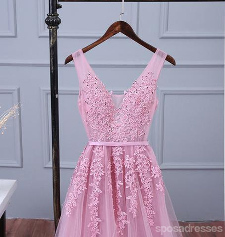 V Neckline Pink Lace Evening Prom Dresses, Popular Lace Party Prom Dresses, 17190