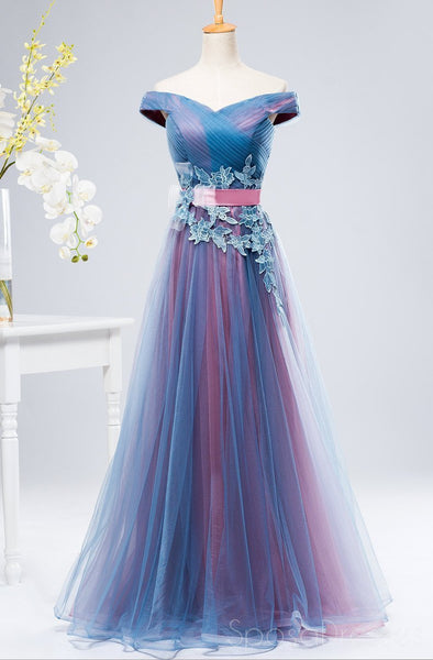 Off Shoulder Blue & Pink Tulle A-line Long Evening Prom Dresses, 17627