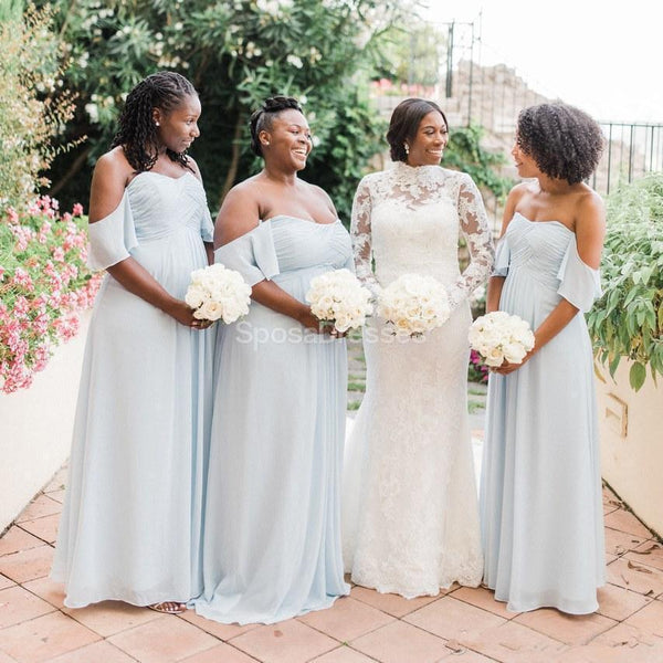 Tiffany Blue Chiffon Cheap Long Bridesmaid Dresses Online, Cheap Bridesmaids Dresses, WG722