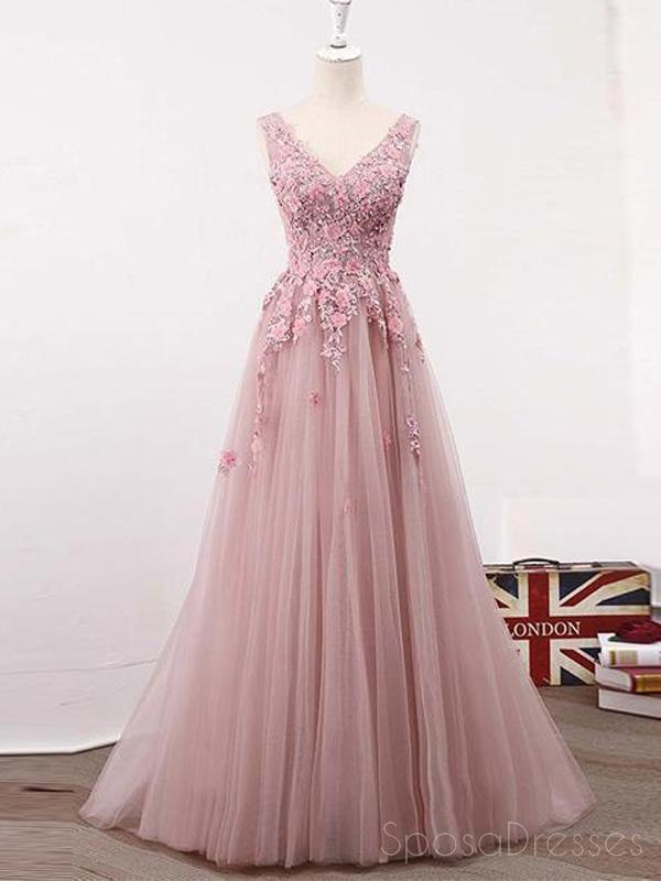 See Through Blush Pink Lace A line Evening Prom Dresses, Long 2018 Party Prom Dresses, 17282