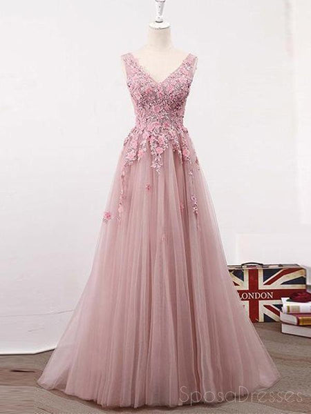 d5096777b6d1d See Through Blush Pink Lace A line Evening Prom Dresses