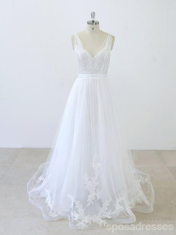 Short Sleeve See Through Hand-Made Flower Dusty Blue Long Wedding Bridal Dresses, WD282