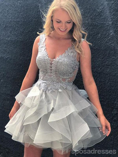 00f74d440a7 Sexy Backless V Neck Grey Cheap Short Homecoming Dresses Online ...