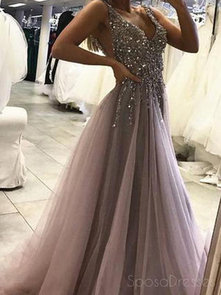 b5c03e3edcd Sexy Backless Grey V Neck Beaded Long Custom Evening Prom Dresses ...