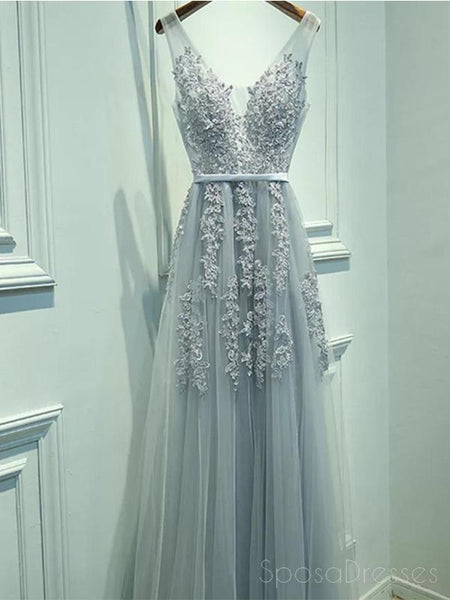 V Neckline Grey Lace Evening Prom Dresses, Tulle Long Party Prom Dresses, Custom Cheap prom dresses, prom dresses shop, online prom dresses, 17065
