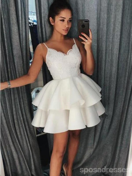 Ivory Spaghetti Straps Lace Cheap Short Homecoming Dresses Online, CM602