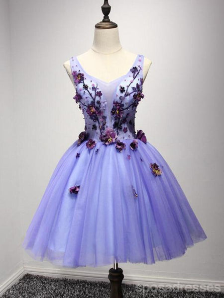 Purple V Neckline Two Straps Beaded Homecoming Prom Dresses, Cheap Cocktail Dresses, CM212