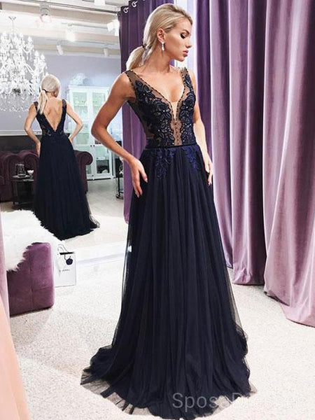Dark Navy Blue V Neck See Through Long Evening Prom Dresses, Cheap Custom Sweet 16 Dresses, 18455