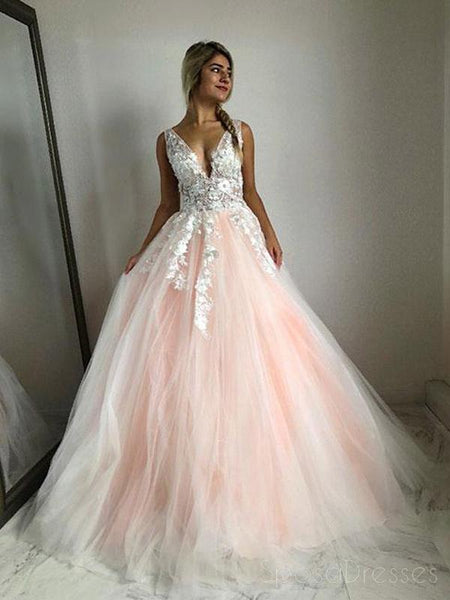 V Neck Lace Peach Tulle A-line Long Evening Prom Dresses, Cheap Sweet 16 Dresses, 18429