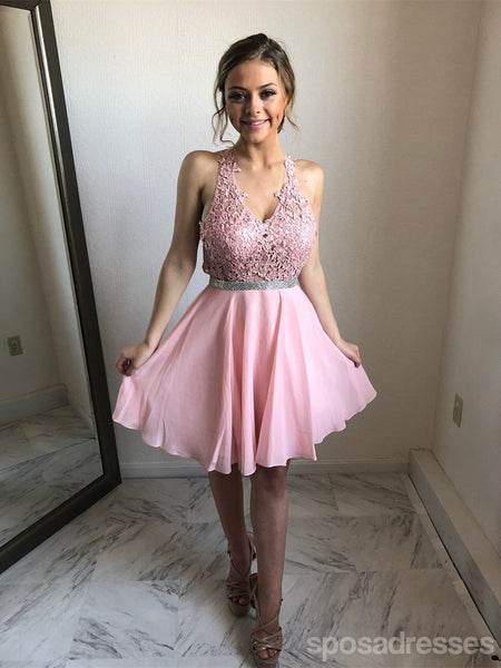 Sexy Open Back Halter Lace Pink Short Homecoming Dresses Online, CM637
