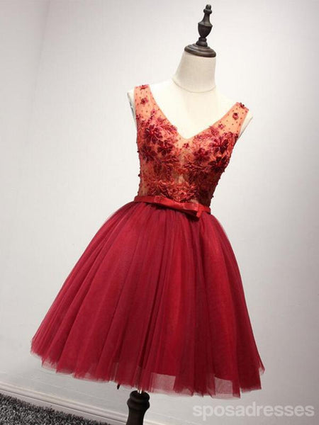 V Neckline Red Lace See Through Homecoming Prom Dresses, Affordable Short Party Corset Back Prom Dresses, Perfect Homecoming Dresses, CM229