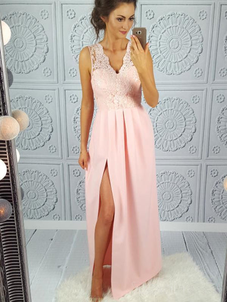 Formal Pink V Neck Lace Side Slit Long Evening Prom Dresses, 17673