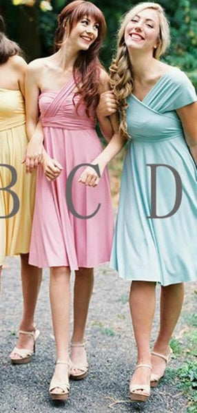 A-line One Shoulder & Sweetheart Short Bridesmaid Dresses Online, WG801