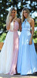 Chiffon A-line Halter Sleeveless Long Bridesmaid Dresses Online, WG802