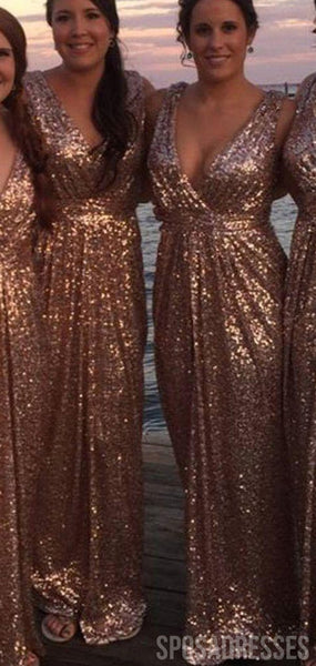 A-line Sequin V Neck Sleeveelsss Cheap Bridesmaid Dresses Online, WG829