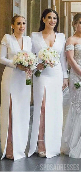 Elegant Sheath Side Slit Long Sleeves Long Bridesmaid Dresses Online, WG867