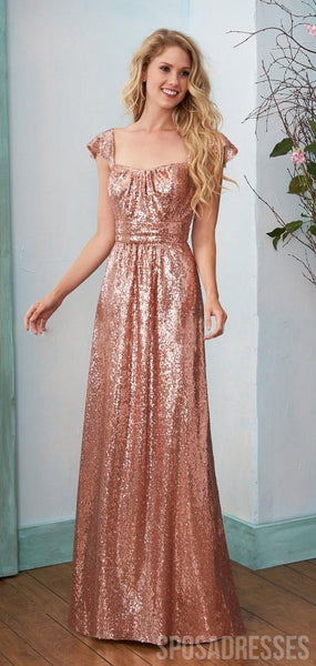 A-line Cap Sleeves Sequin Long Bridesmaid Dresses Online, WG882