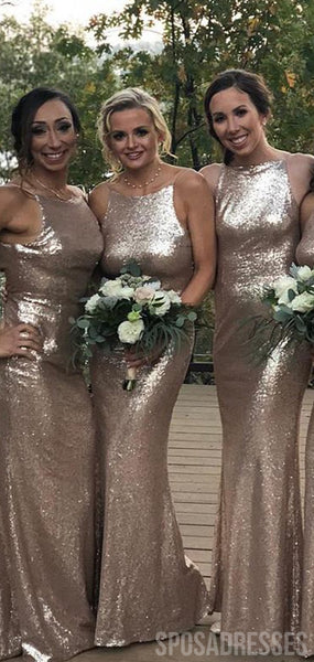 Mermaid Sleeveless Gold Sequin Long Bridesmaid Dresses Online, WG885